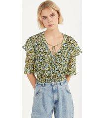 blouse met bloemenprint en volants
