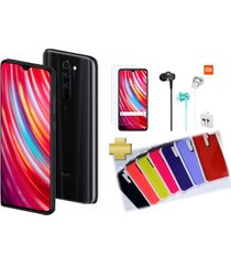 celular xiaomi redmi note 8 pro 64gb 6gb ram grey negro +vidrio+audifonos+silicone case
