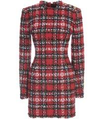 short ls 3 btn tartan tweed dress