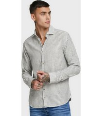 camisa jack & jones lino azul - calce regular