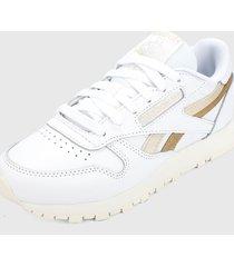 tenis lifestyle blanco dorado reebok classics leather