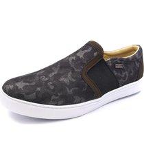 sapatênis slip on shoes grand jeans camuflado com couro verde militar - kanui