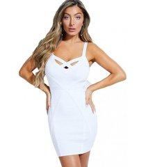 vestido sl mirage teasha bandage blanco guess