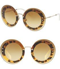 miu miu women's 64mm round overlay sunglasses - havana