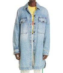 palm angels back logo oversize denim shirt jacket, size large in light blue white at nordstrom