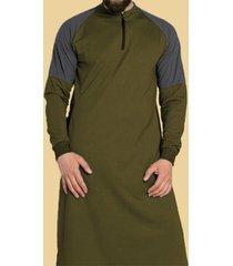 hombre otoño casual patchwork zip front midi camiseta longitud
