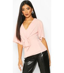 knot front woven blouse, blush