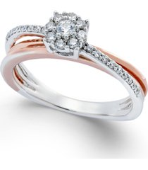 diamond crossover promise ring (1/4 ct. t.w.) in sterling silver and 14k rose gold