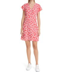rails helena print button front dress, size x-large in cardinal daisies at nordstrom