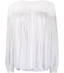 gabriela hearst tassel fringed blouse - white