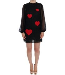 lace red heart shift dress