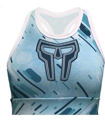 top de compressã£o spartanus fightwear watercolor azul - azul - feminino - dafiti