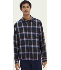 scotch & soda checked relaxed-fit tencel™ shirt
