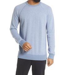 men's vince regular fit bird's eye stitch wool & cashmere sweater, size xx-large - blue