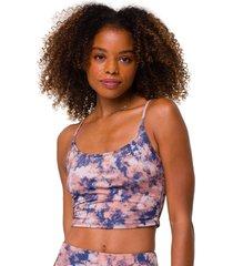 onzie women's belle cami yoga crop top - earth tie dye small/medium spandex