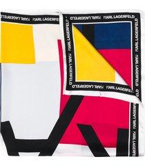 karl lagerfeld silk logo print scarf - blue