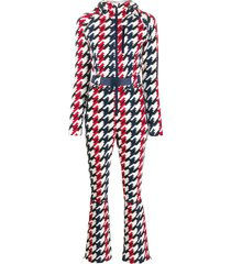 perfect moment houndstooth hooded jumpsuit - white