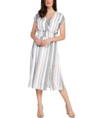 black tape smocked-waist striped midi dress
