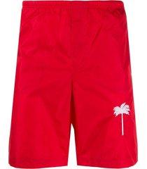 palm angels short de natação com estampa de palmeiras - vermelho