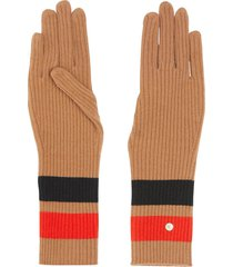 burberry monogram-motif stripe-detail gloves - neutrals