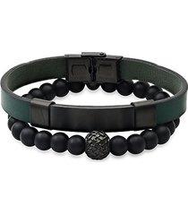 2-piece stainless steel, leather & black lava beaded bracelet set