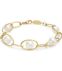 18k yellow gold & 10-12mm freshwater pearl link bracelet