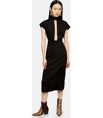 black plunge tie neck midi dress - black