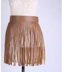 gonna donna con frange con fibbia decorativa nappa cintura