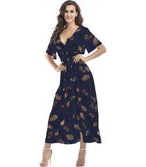 vestido de gasa floral de manga corta con cuello en v para mujer -azul