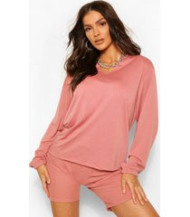 boxy sweater met halsinkeping en onbewerkte zoom, blush