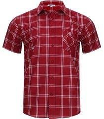 camisa a cuadros con bolsillo color rojo, talla xs