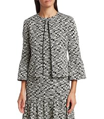 akris punto women's ikat printed bell-sleeve jacket - black cream - size 2