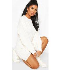petite volume sleeve sweater dress, ivory