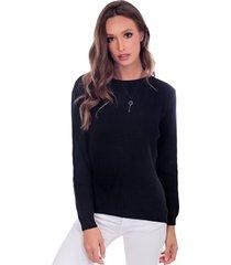 blusa myah lua preto básico em tricô