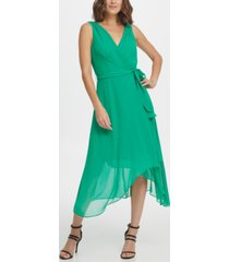 dkny s/l double-v faux wrap with belt