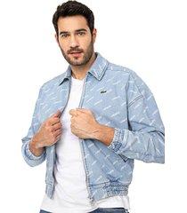 jaqueta jeans lacoste l!ve logo azul - kanui