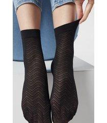 calzedonia women's patterned fishnet socks woman black size tu