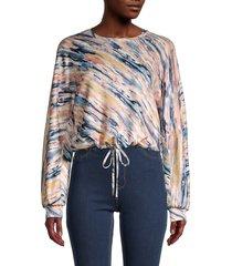t tahari women's printed cinched-tie sweatshirt - pink multicolor - size s