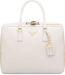 prada saffiano logo suitcase - white