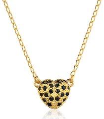 colar toque de joia coração 3d zircônias pretas dourado