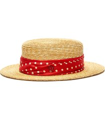 'kiki' polka dot print ribbon embellished straw hat