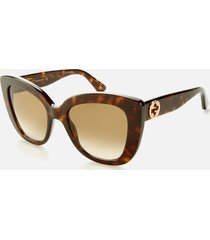 gucci women's cat eye acetate sunglasses - havana