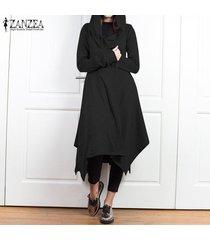 zanzea mujer casual chaqueta asimétrica abrigo con capucha túnica abrigo largo -negro
