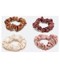 kit 4 scrunchies finos de cetim | accessories | multicores | u