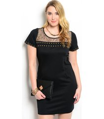 sexy studded black and gold party cruise cocktail plus size dress xl 2xl or 3xl