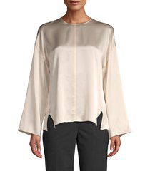 vince women's long-sleeve silk blouse - chiffon - size xs