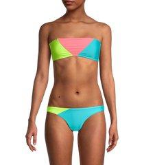 pilyq women's trinity colorblock bandeau bikini top - salt water - size m