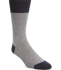 men's suitsupply houndstooth socks, size 43r - blue