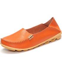 socofy scarpe basse casual in pelle comoda di slip-on a grande taglia in colore a tinta unita