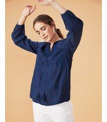 amaro feminino blusa bordada com cordão tassel, marinho